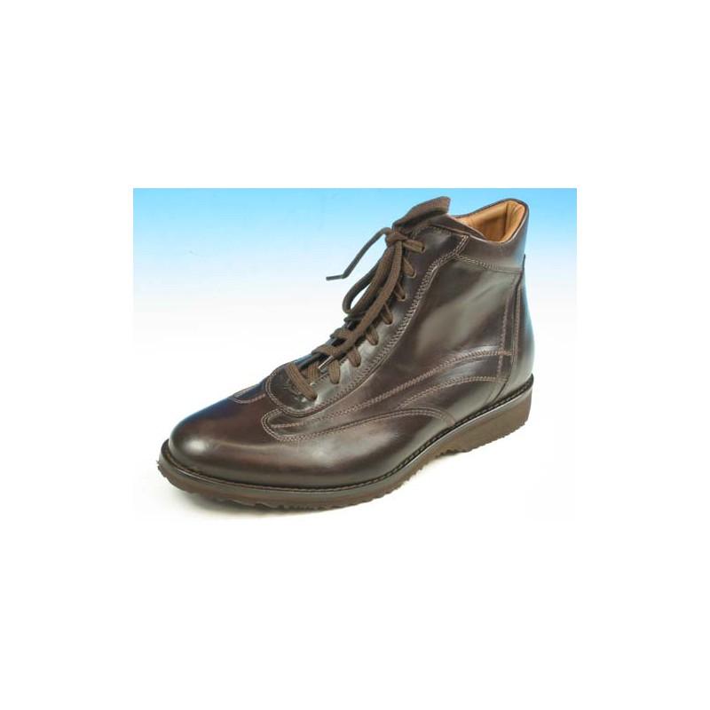 Botines con cordones para hombre en piel marron oscuro - Tallas disponibles:  39, 40, 41, 45