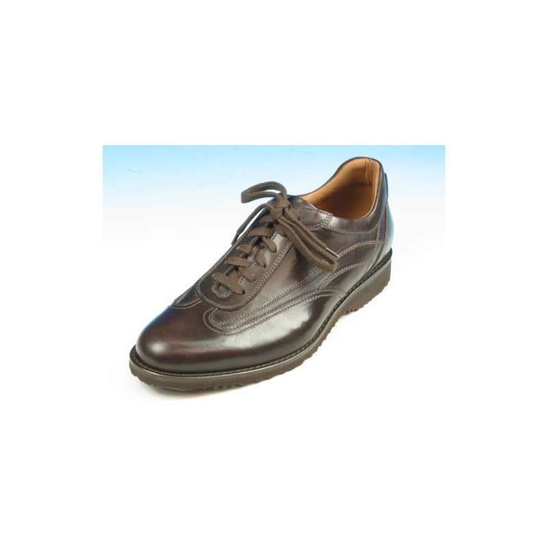 Men's laced casual shoe in dark brown leather - Available sizes:  54