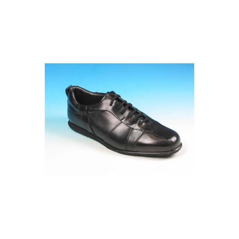Chaussure sportif à lacets pour hommes en cuir noir - Pointures disponibles:  41