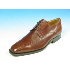 Men's classic laced derby shoe in brown leather - Available sizes:  44, 52, 53, 54