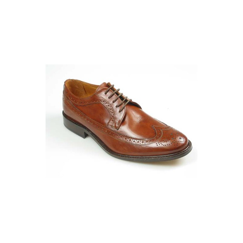 Men's laced derby shoe with Brogue decorations in brown leather - Available sizes:  45, 52