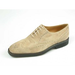 Men's laced Oxford shoe with Brogue decorations in sand beige suede - Available sizes:  41, 45, 52, 54