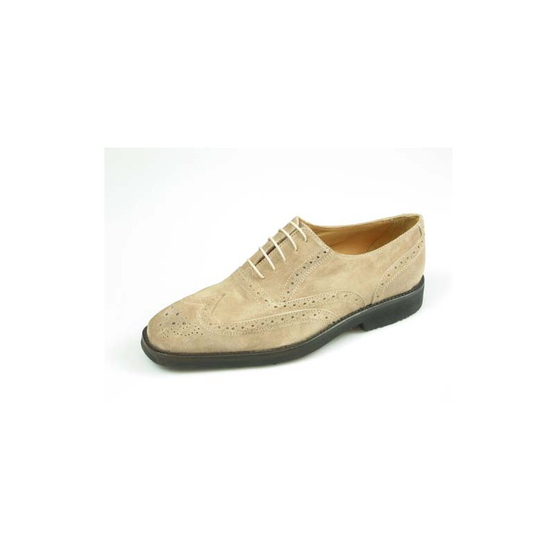 Men's laced Oxford shoe with Brogue decorations in sand beige suede - Available sizes:  40, 41, 45, 52, 54