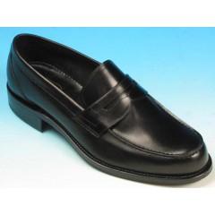 Men's elegant mocassin in black leather - Available sizes:  40, 42, 52