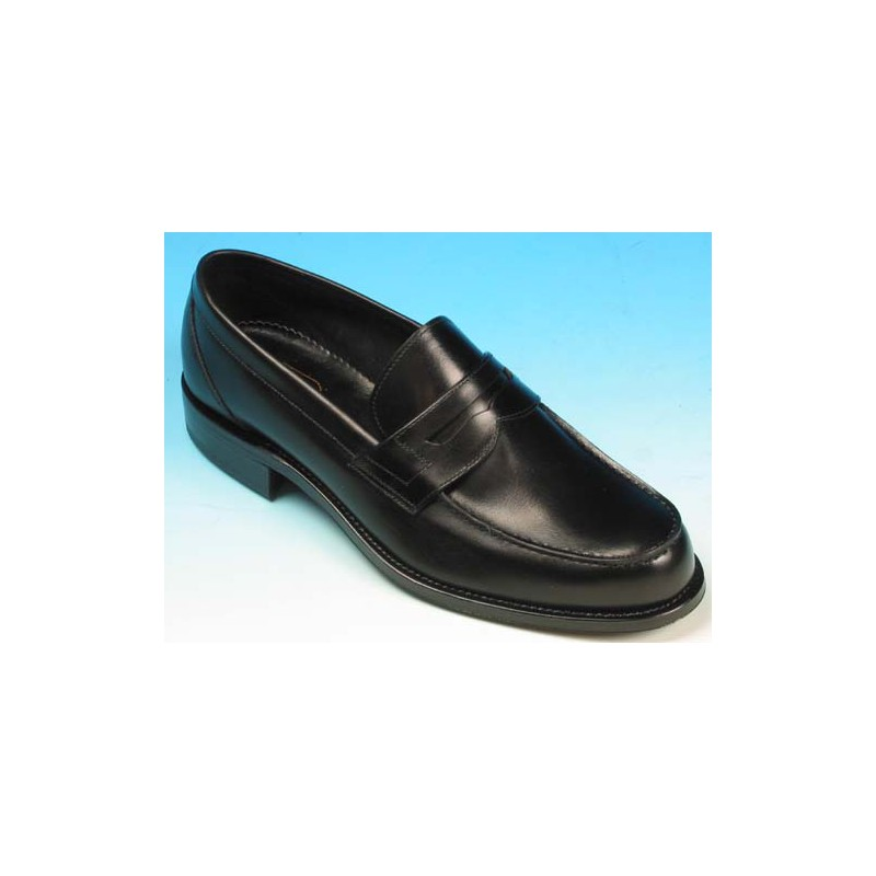 Men's elegant mocassin in black leather - Available sizes:  40, 42, 52