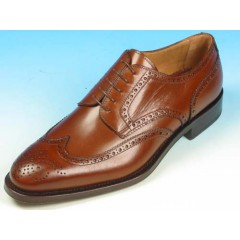 Men's laced derby shoe with decorations in brown leather - Available sizes:  40, 43, 52