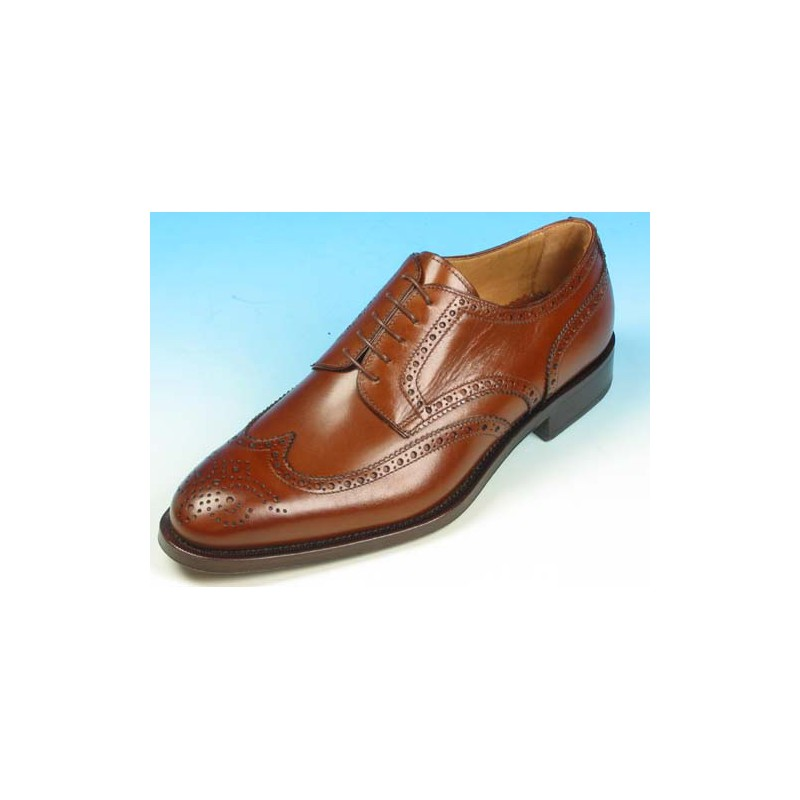 Men's laced derby shoe with Brogue decorations in brown leather - Available sizes:  40, 43, 52