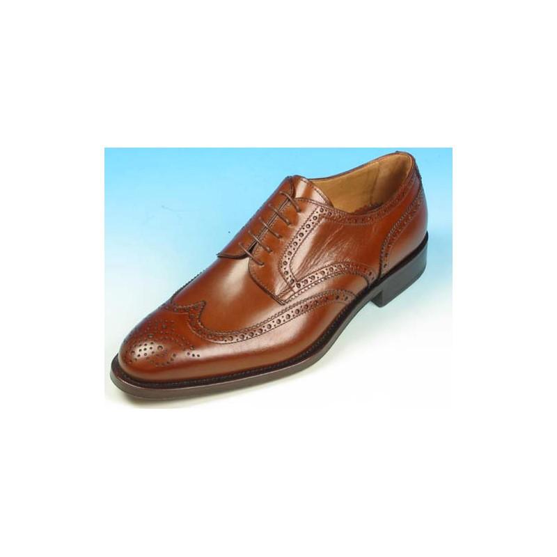 Zapato derby con cordones y decoraciones Brogue para hombre en piel marron - Tallas disponibles:  40, 43, 52