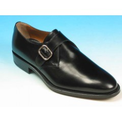 Men's elegant shoe with buckle in black leather - Available sizes:  40, 44, 51, 52