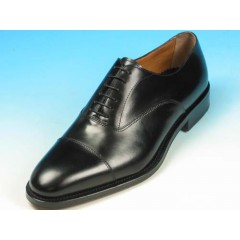 Men's laced oxford shoe with captoe in black leather - Available sizes:  51, 52