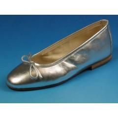 Ballerina da donna con fiocco in pelle colore argento tacco 1 - Misure disponibili: 32