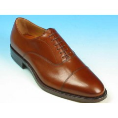 Men's laced oxford shoe with captoe in brown leather - Available sizes:  41, 44, 52