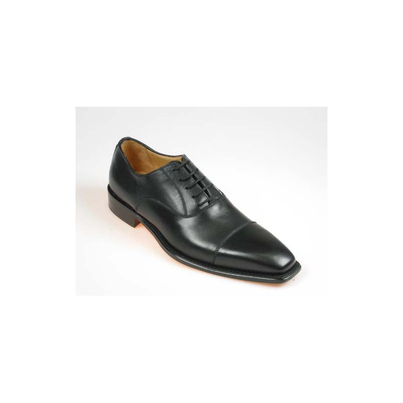 Men's laced oxford shoe in black leather - Available sizes:  40