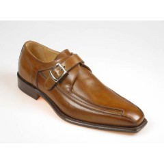 Men's elegant shoe with buckle in tan-colored leather - Available sizes:  37, 39, 43, 44, 47, 50, 51