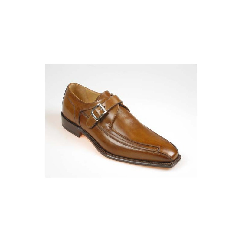 Chaussure élégant avec boucle pour hommes en cuir brun - Pointures disponibles:  37, 39, 43, 44, 46, 47, 49, 50, 51