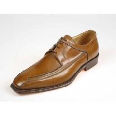 Zapato derby elegante con cordones para hombre en piel de color cuero - Tallas disponibles:  36, 38, 39, 40, 41, 43, 45, 50, 51