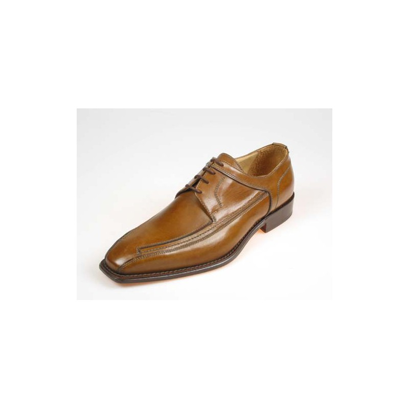 Men's elegant derby shoe with laces in tan-colored leather - Available sizes:  36, 38, 39, 40, 41, 43, 45, 50, 51