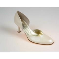 Offener Damenschuh aus perligem elfenbeinfarbigem Leder Absatz 7 - Verfügbare Größen:  32, 46