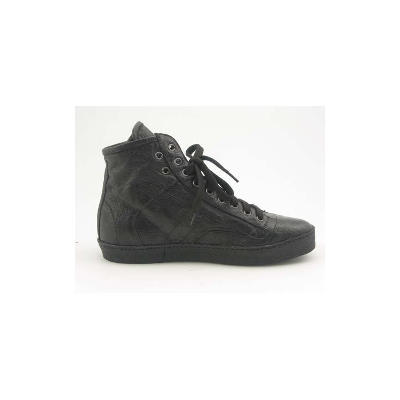 Men's sportive ankle-high shoe with laces in black leather - Available sizes:  36