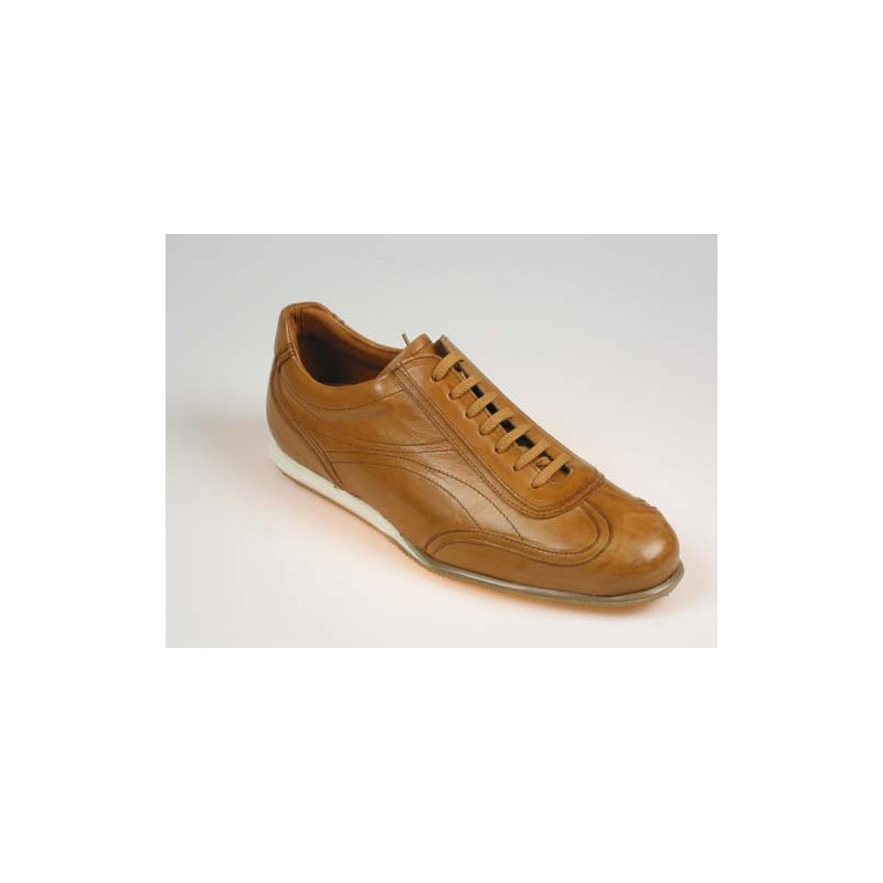 Men's sports shoe with laces in tan brown leather - Available sizes:  40, 51