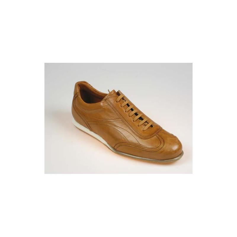 Zapato deportivo con cordones para hombres en piel color cuero - Tallas disponibles:  40