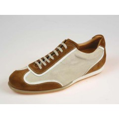 Men's sports shoe with laces in tobacco and beige suede - Available sizes:  40, 41