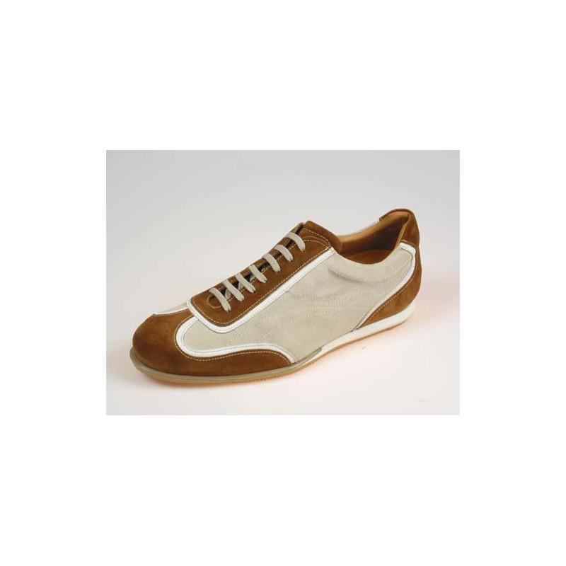 Zapato deportivo con cordones para hombres en gamuza color tabaco y beis - Tallas disponibles:  40, 41