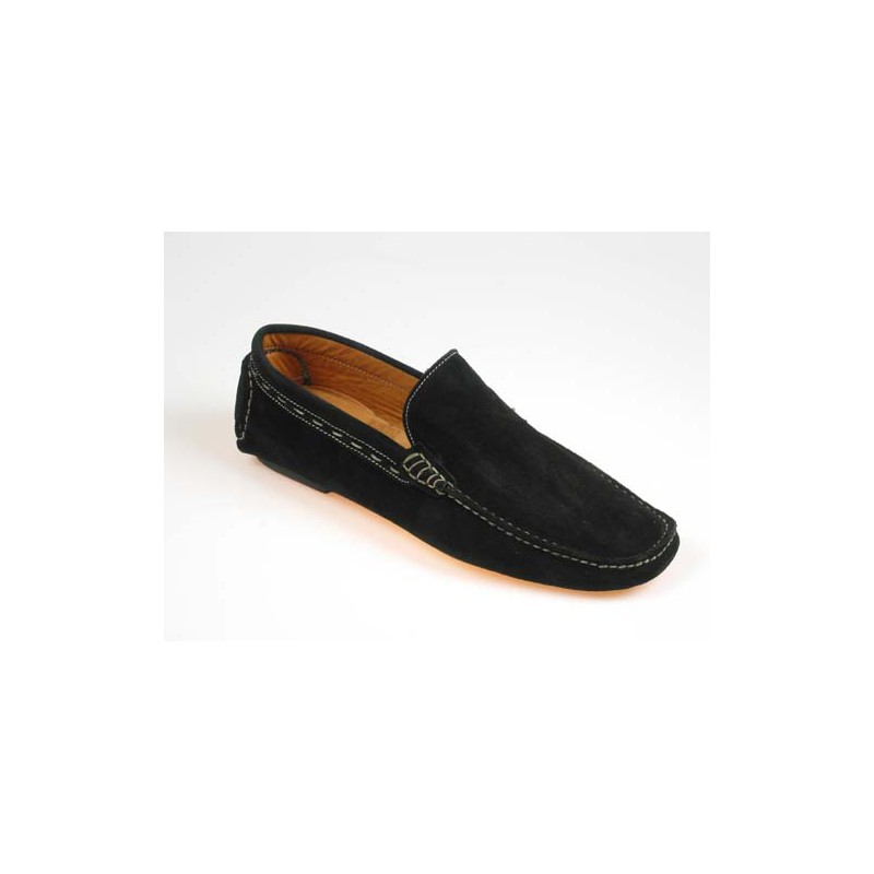 Men's classic mocassin shoe in black suede - Available sizes:  39