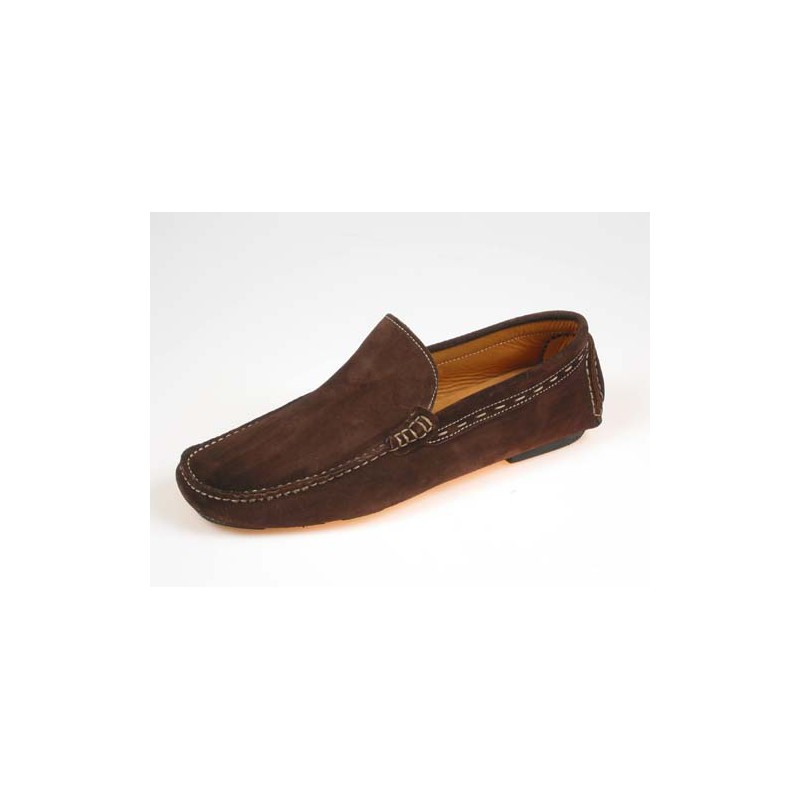 Men's classic mocassin shoe in brown suede - Available sizes:  39