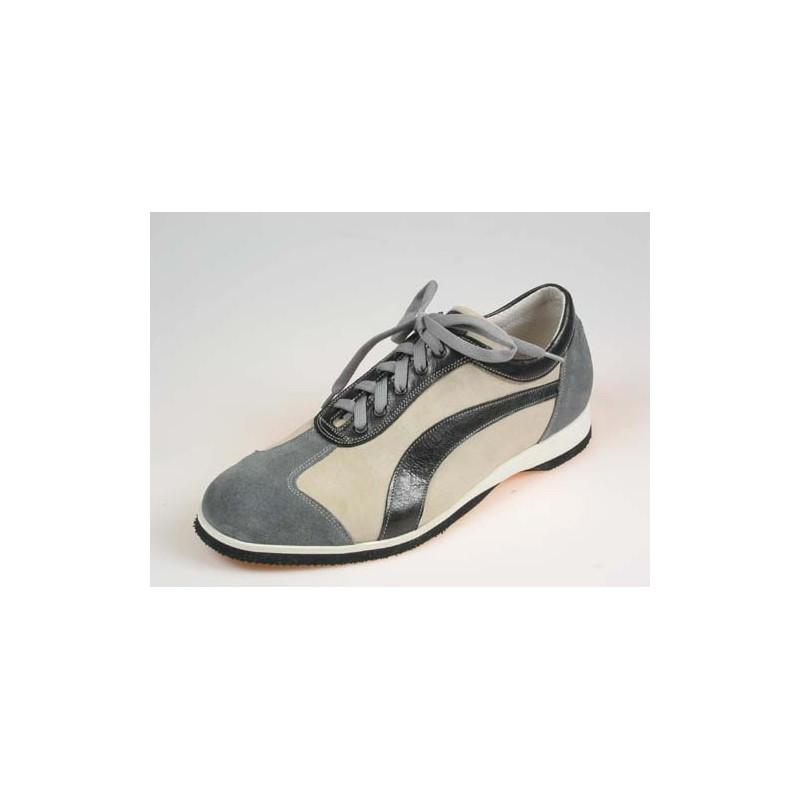 Zapato deportivo con cordones para hombre en gamuza gris y beis y piel azul - Tallas disponibles:  36