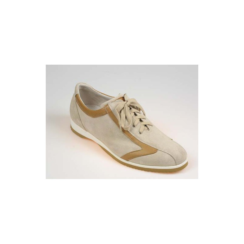 Men's laced sports shoe in beige suede and tan brown leather - Available sizes:  36, 40