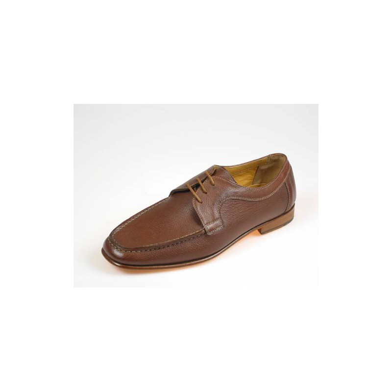 Men's laced shoe in brown leather - Available sizes:  39, 41, 42, 43, 44, 45, 50, 52