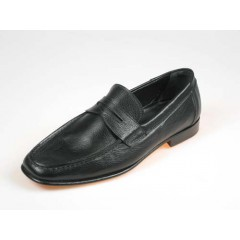 Men's loafer in black leather - Available sizes:  39, 44