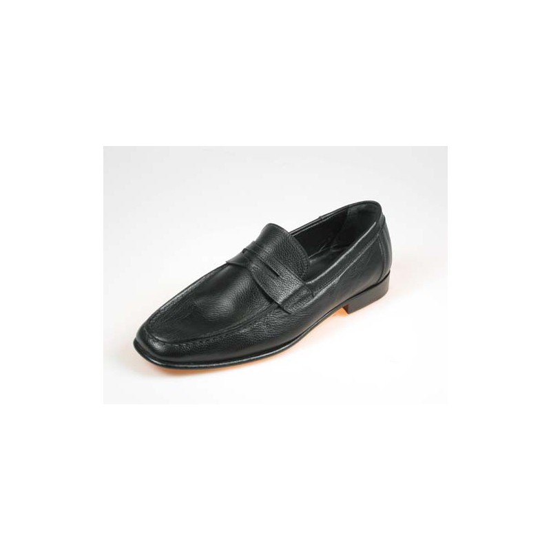 Men's mocassin shoe in black leather - Available sizes:  39, 44