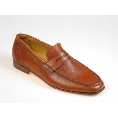 Men's mocassin shoe in brown leather - Available sizes:  40, 52