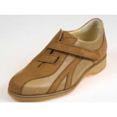 Scarpa sportiva da uomo con velcro in pelle color cuoio e cuoio chiaro - Misure disponibili: 36, 37, 50
