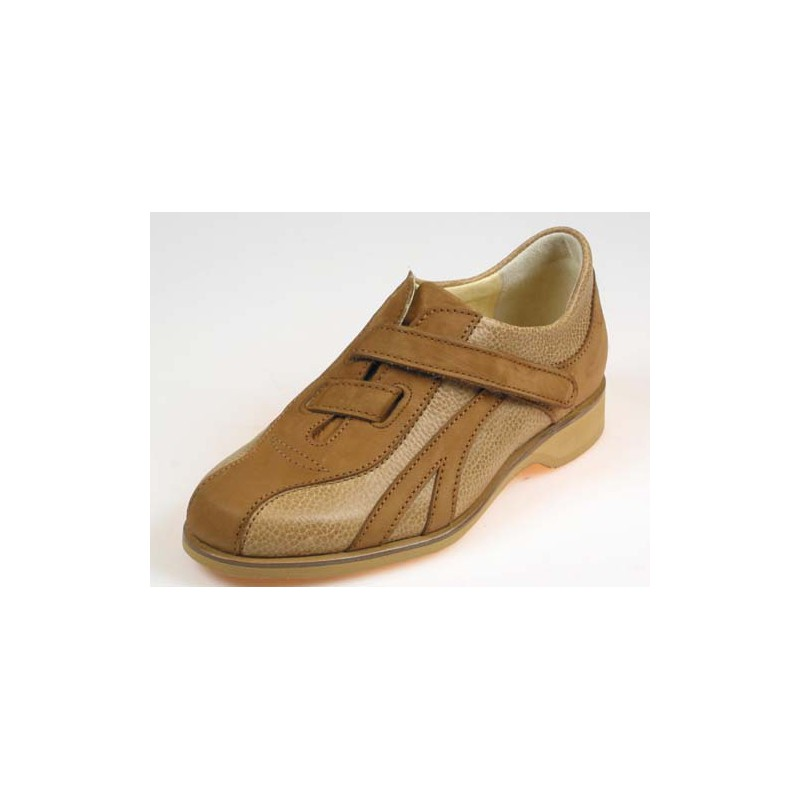 Men's casual shoe with velcro strap in dark and light tan brown leather - Available sizes:  36, 37, 50