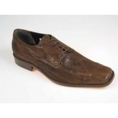 Scarpa derby stringata da uomo in pelle vintage marrone - Misure disponibili: 50