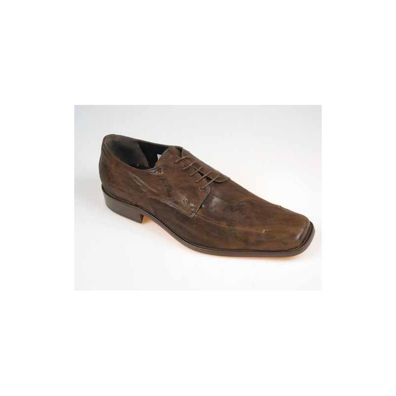 Chaussure derby à lacets pour hommes en cuir antiqué marron - Pointures disponibles:  50