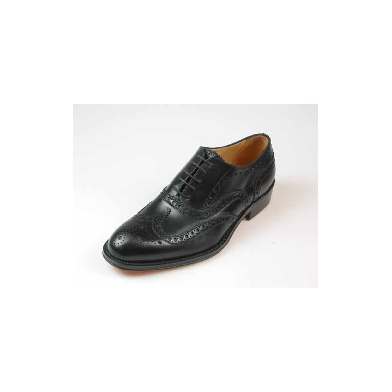 Men's laced Oxford shoe with Brogue decorations in black leather - Available sizes:  53, 54