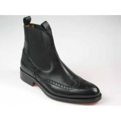 Botines elegantes para hombre en piel de color negro con elasticos laterales  - Tallas disponibles:  36