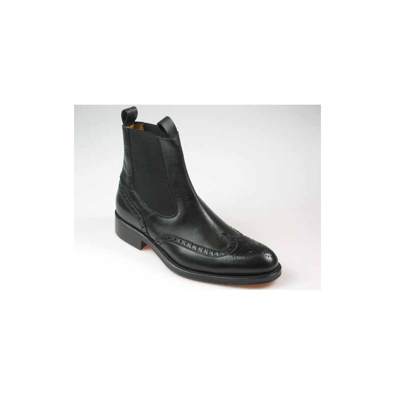 Men's elegant ankle boot in black leather with elastic bands - Available sizes:  36