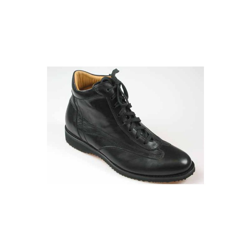Men's laced ankle shoe in black leather - Available sizes:  45