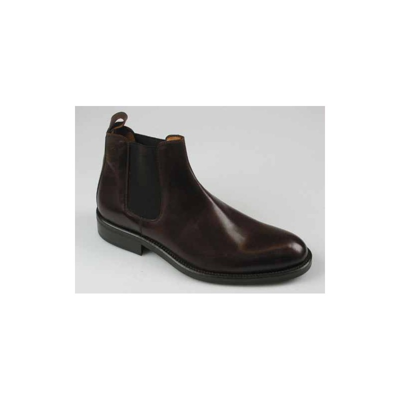 Men's ankle boot in dark brown leather with elastic bands - Available sizes:  41, 44