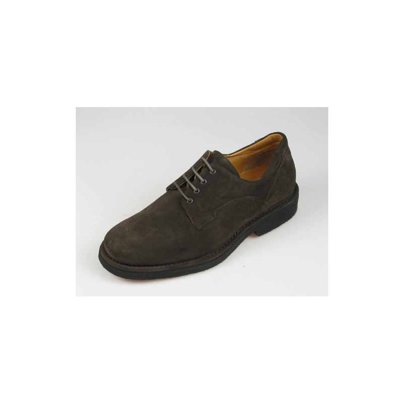 Men's laced shoe in dark brown suede - Available sizes:  40