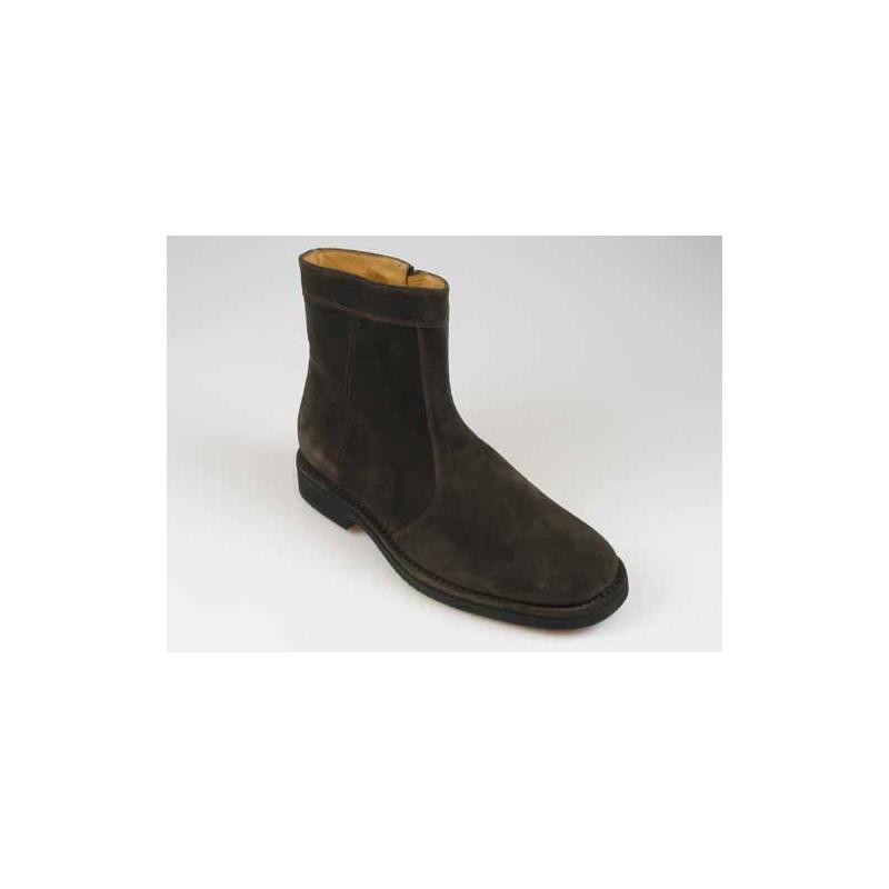 Botines con cremallera para hombre en gamuza marron - Tallas disponibles:  40, 42, 43