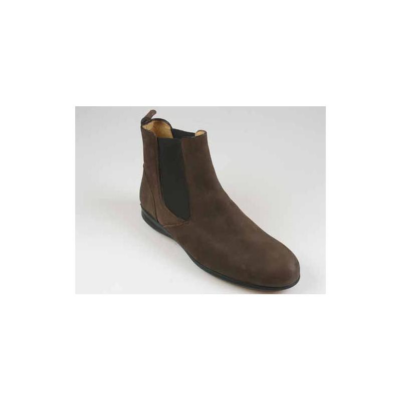 Bottines pour hommes avec elastiques en cuir nubuck marron - Pointures disponibles:  45