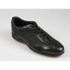 Men's sports shoe with laces in dark brown leather - Available sizes:  40
