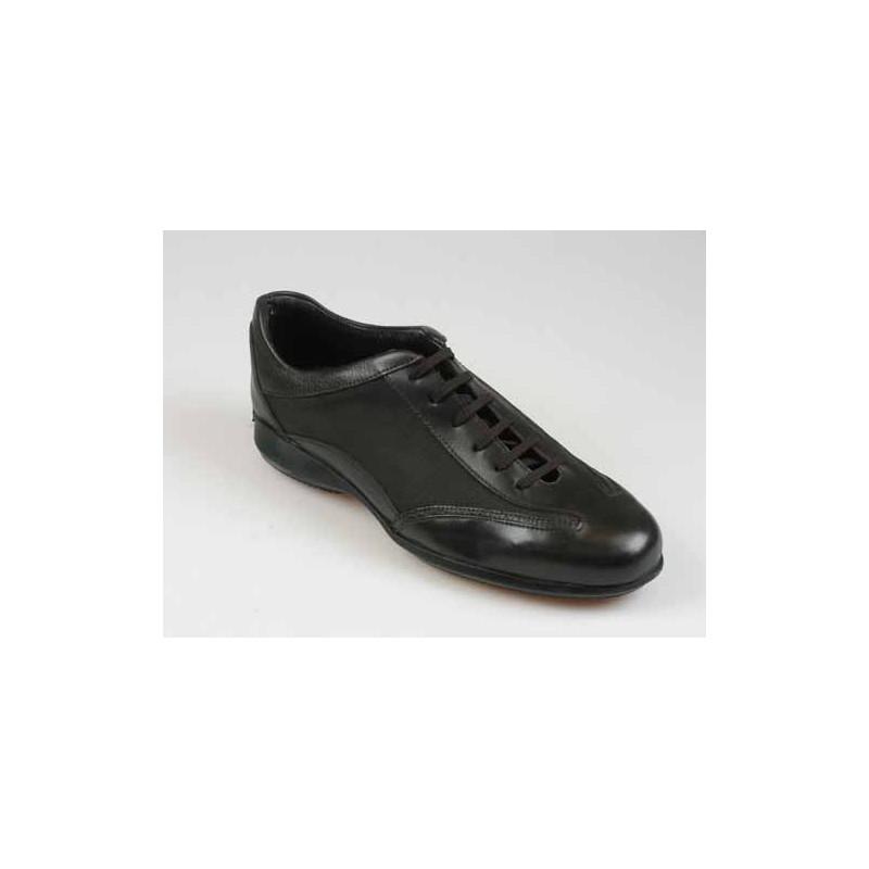 Zapato deportivo con cordones para hombre en piel marron oscuro - Tallas disponibles:  40