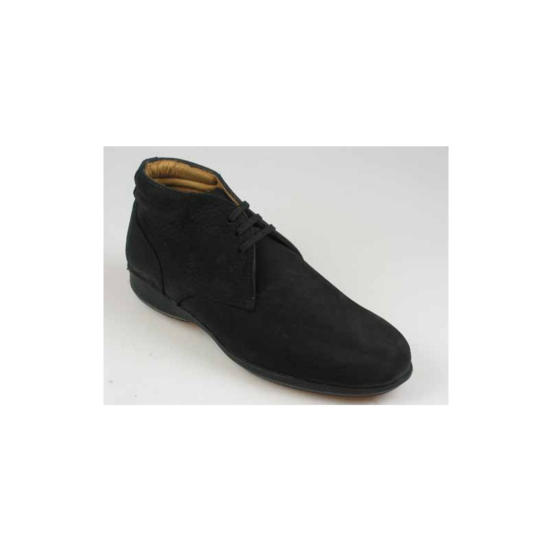 Men's ankle-high laced shoe in black nubuck leather - Available sizes:  37